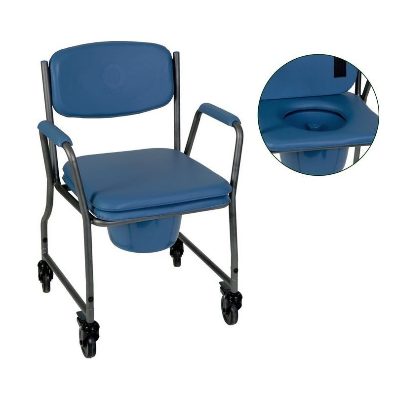 Sedia comoda con foro wc e sedile imbottito con ruote ...